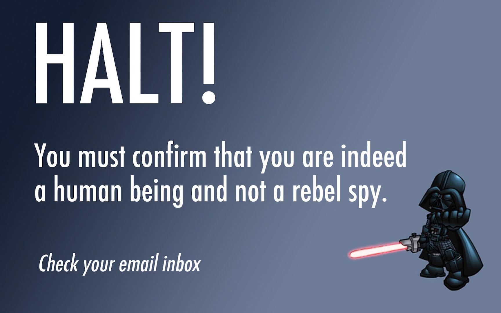 Star Wars Halt Thank You Page